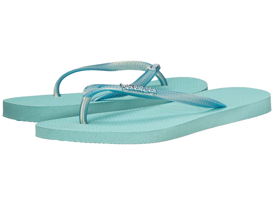 Havaianas Slim Logo Metallic Flip Flops Ice Blue Womens Sandals