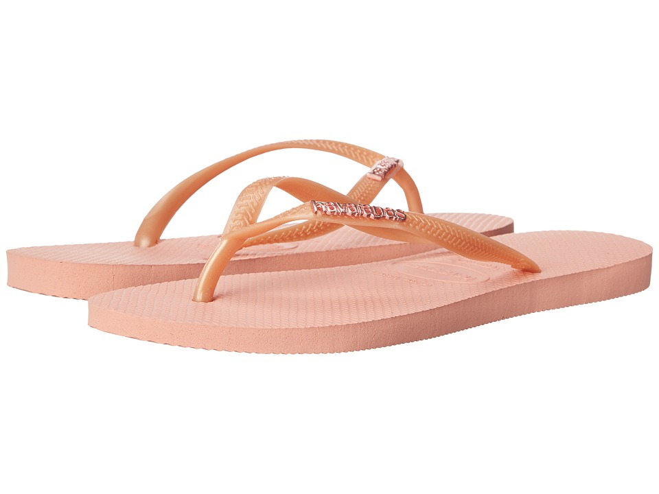 Havaianas Slim Logo Metallic Flip Flops Light Pink Womens Sandals