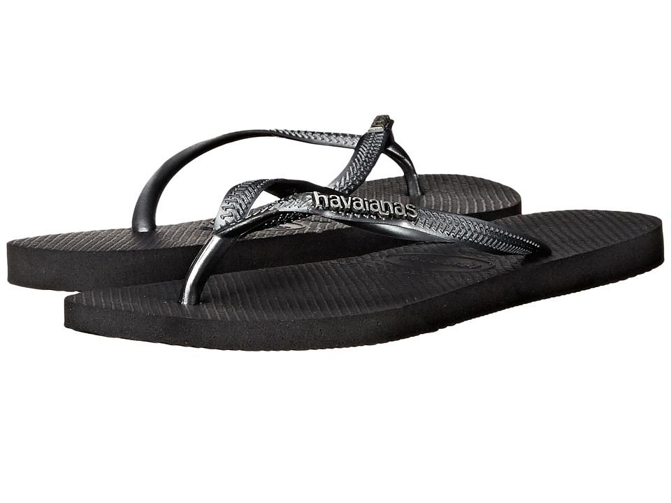 Havaianas Slim Logo Metallic Flip Flops Black/Graphite Womens Sandals