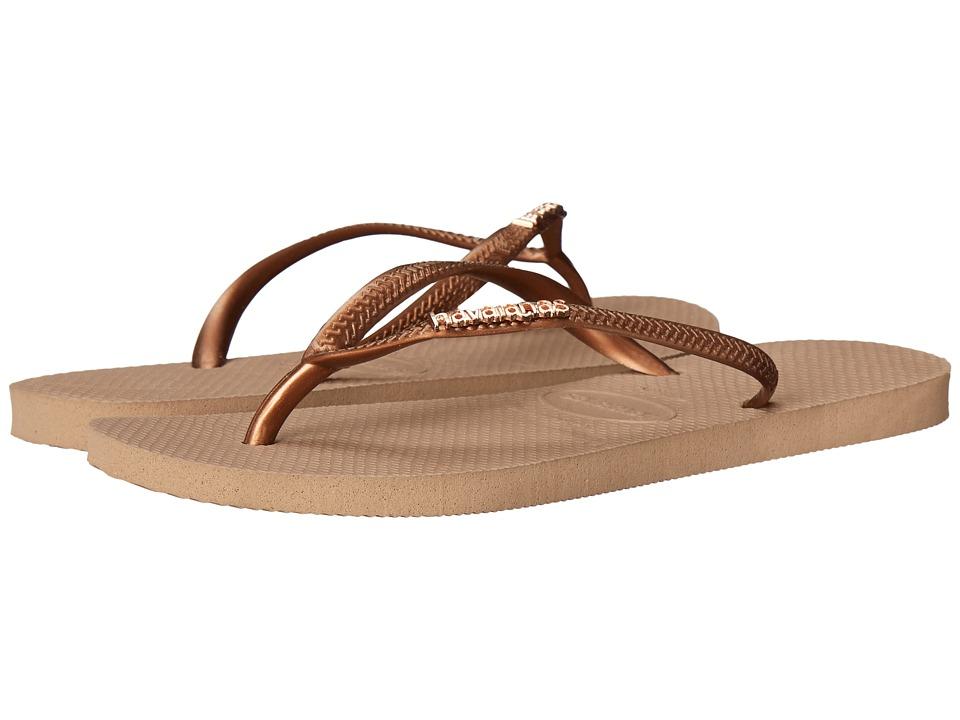 Havaianas Slim Logo Metallic Flip Flops Rose Gold/Dark Copper Womens Sandals