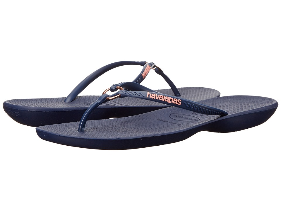 Havaianas - Ring Flip Flops (Navy Blue) Womens Sandals