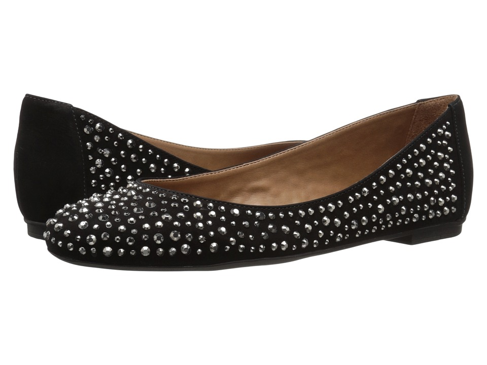 French Sole Quench Black Nubuck Womens Flat Shoes