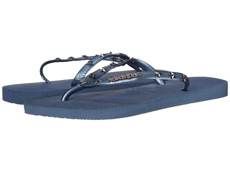 Havaianas Slim Hardware Flip Flops Indigo Blue Womens Sandals
