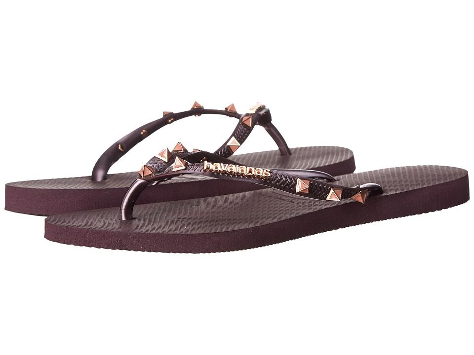 Havaianas Slim Hardware Flip Flops Aubergine/Aubergine Womens Sandals