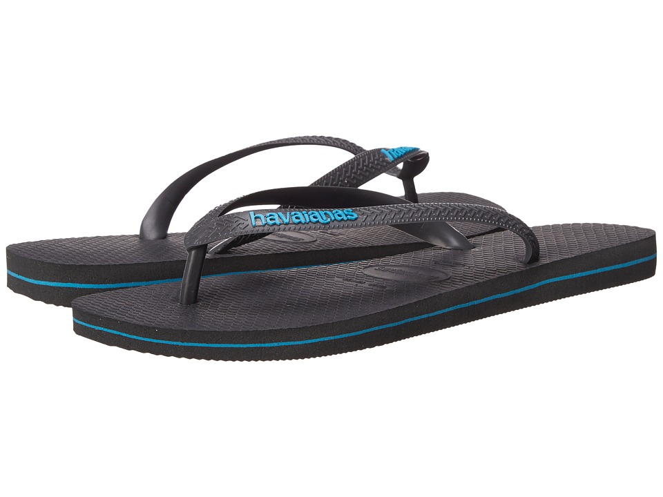 Havaianas Logo Filete Flip Flops Grey/Turquoise Mens Sandals