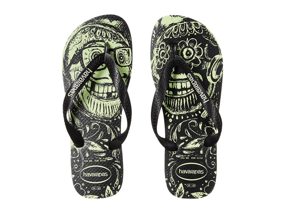 Havaianas 4 Nite Flip Flops Black/Black/Phosporescent Mens Sandals
