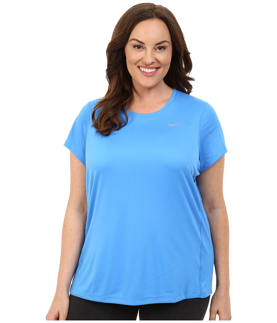 Nike - Miler Short-Sleeve Running Top (Size 1X-3X) (Light Photo Blue/Reflective Silver) Women