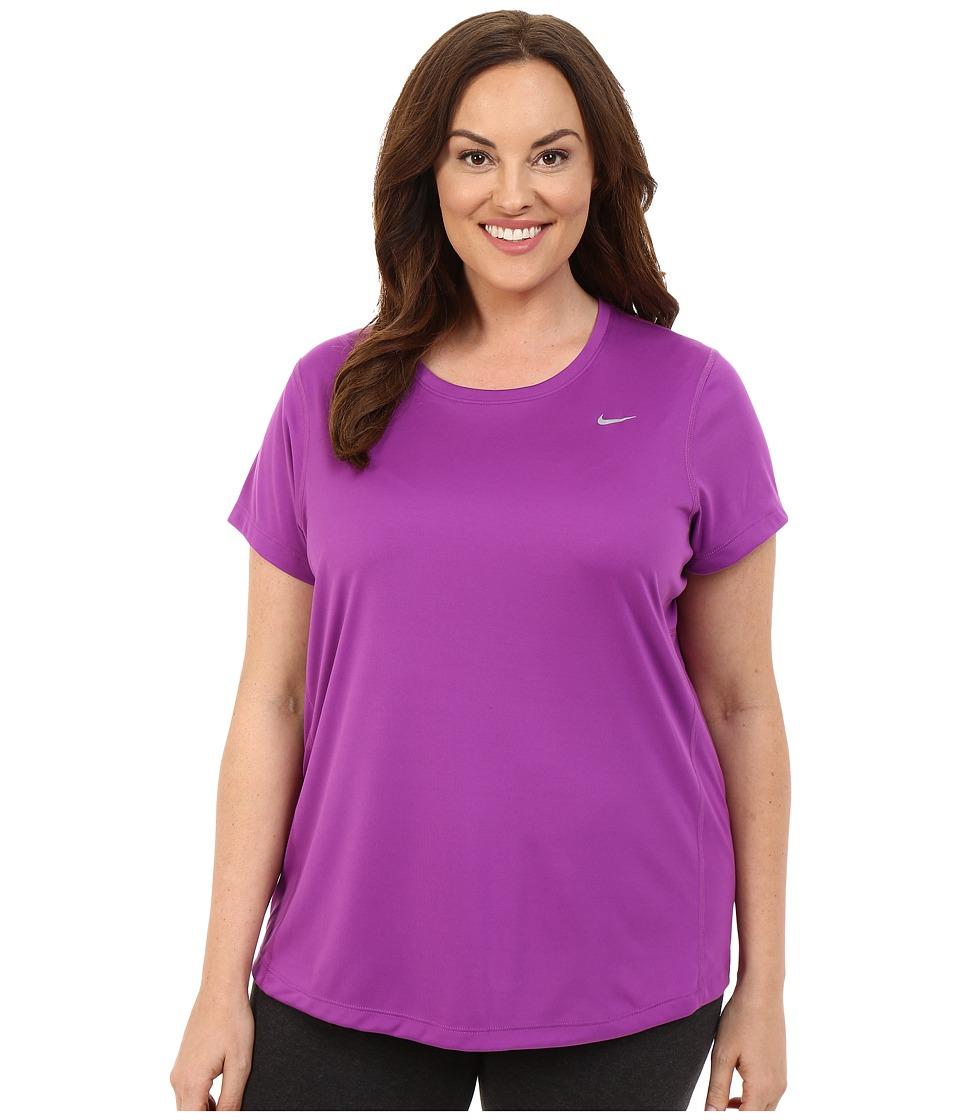 Nike - Miler Short-Sleeve Running Top (Size 1X-3X) (Cosmic Purple/Reflective Silver) Women