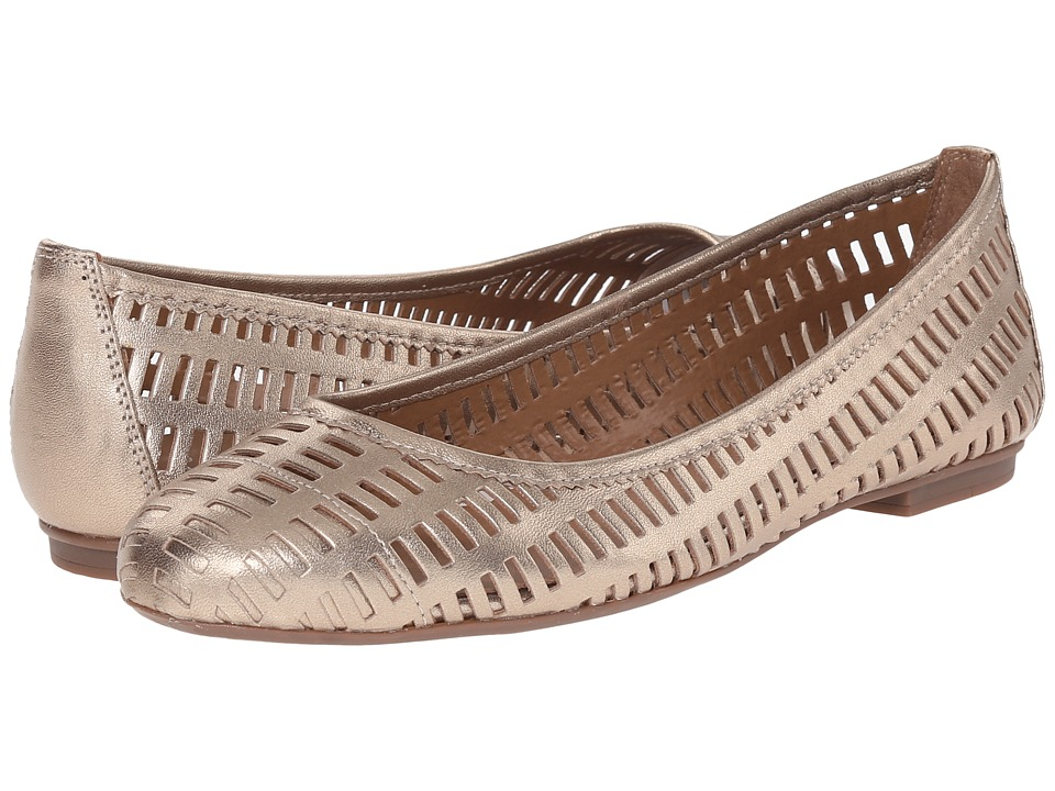 French Sole Quartz Platino Leather Womens Flat Shoes