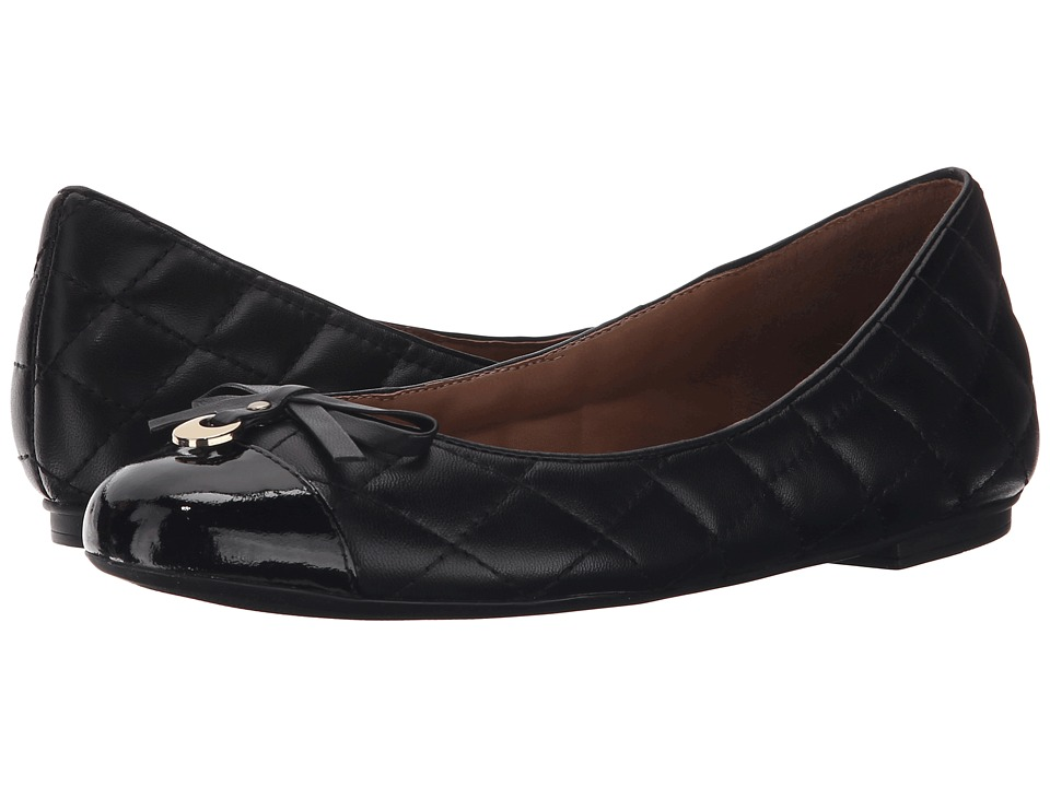 French Sole Quarrel Black Patent Leather Womens Flat Shoes