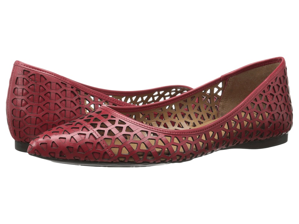 French Sole Quantum Red Leather Womens Flat Shoes
