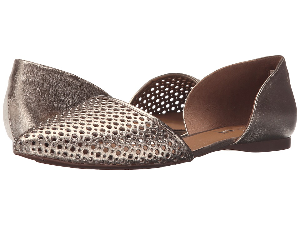 French Sole Quotient Platino Metallic Leather Womens Flat Shoes