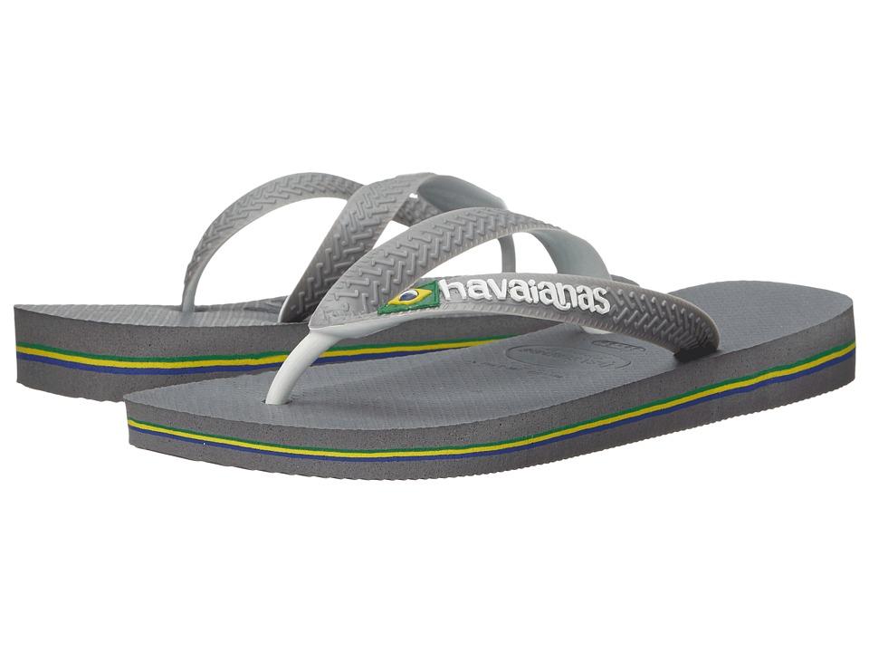 Havaianas - Brazil Mix Flip Flops (Steel Grey/White/White) Womens Sandals