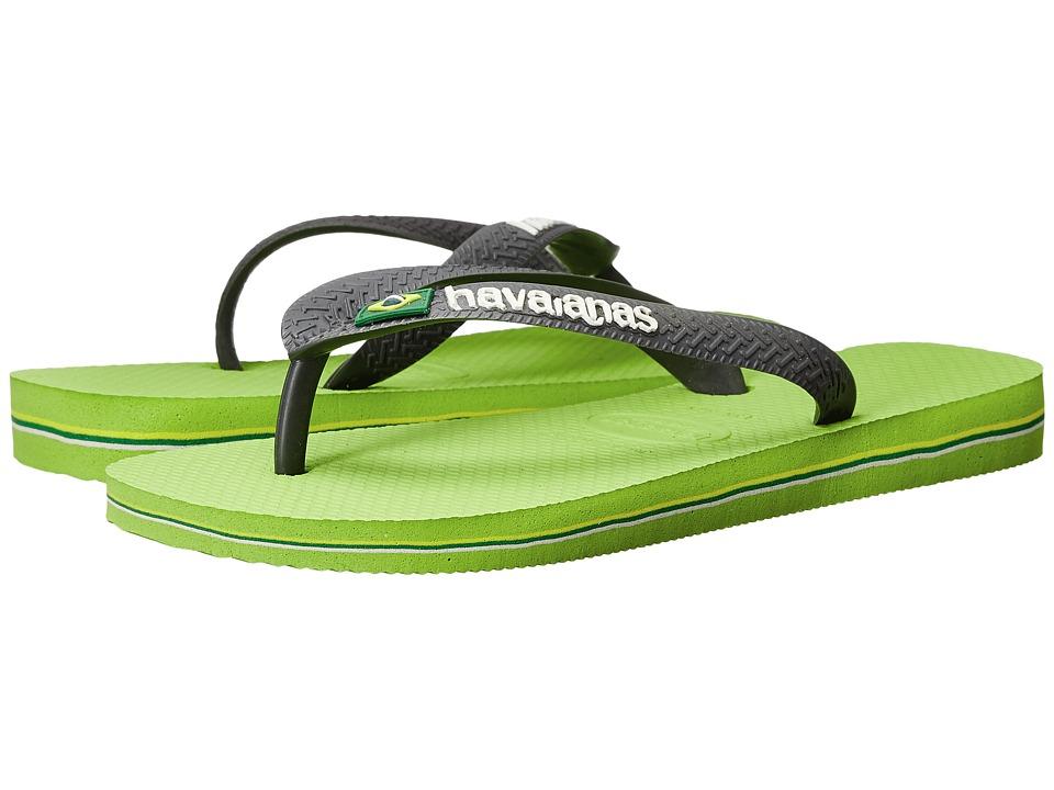 Havaianas Brasil Logo Unisex Flip Flops Lime Green/Grey Womens Sandals