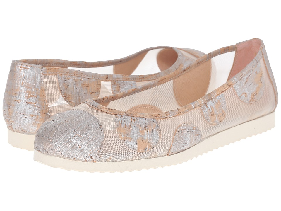 French Sole Retro Silver Cork Womens Flat Shoes