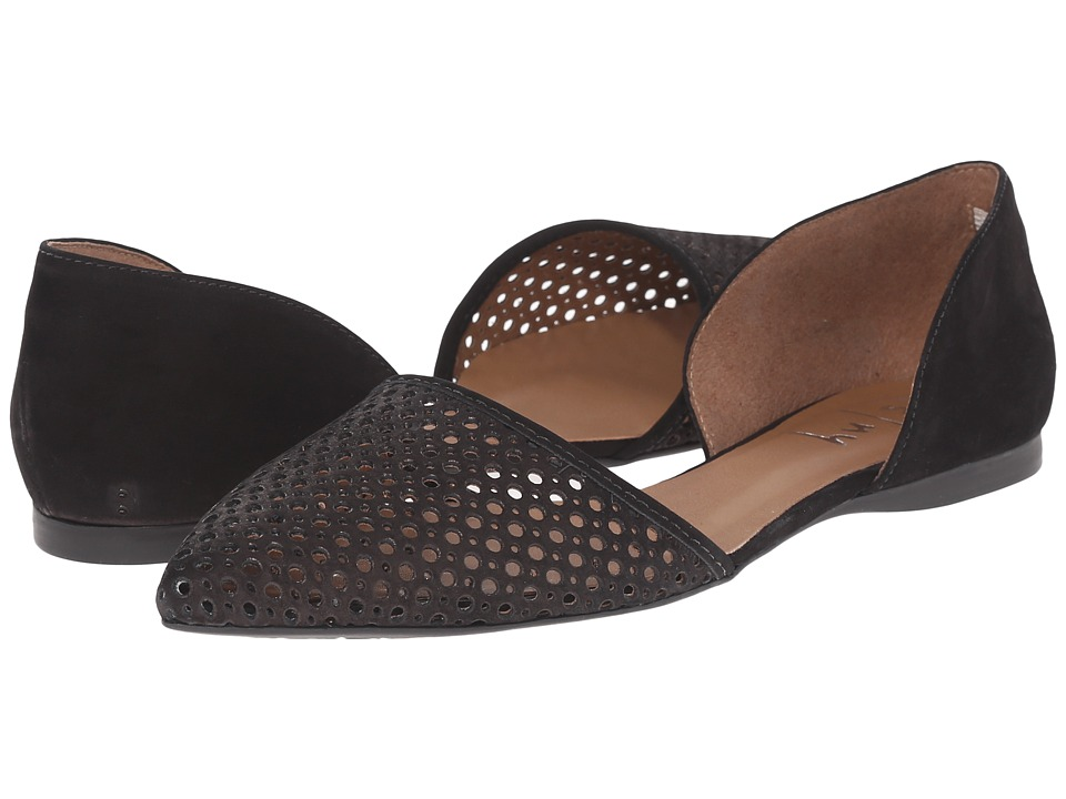 French Sole Quotient Black Nubuck Womens Flat Shoes