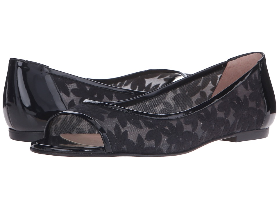 French Sole Noir Black Floral Womens Flat Shoes