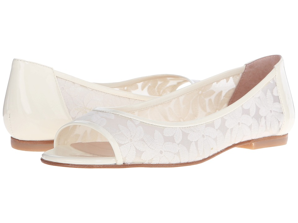 French Sole Noir Off White Floral Womens Flat Shoes