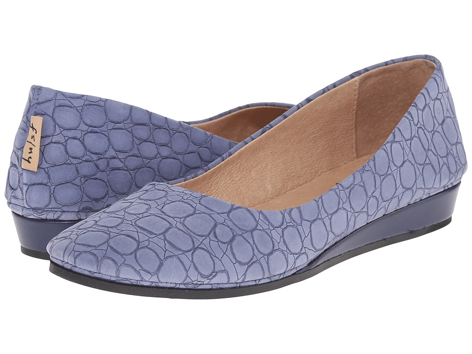 French Sole Zeppa (Blue Croco)
