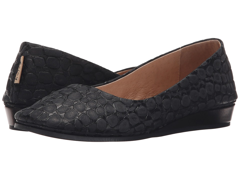 French Sole Zeppa (Black Croco)