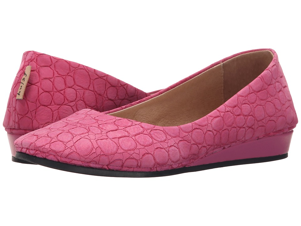 French Sole Zeppa (Fuchsia Croco)