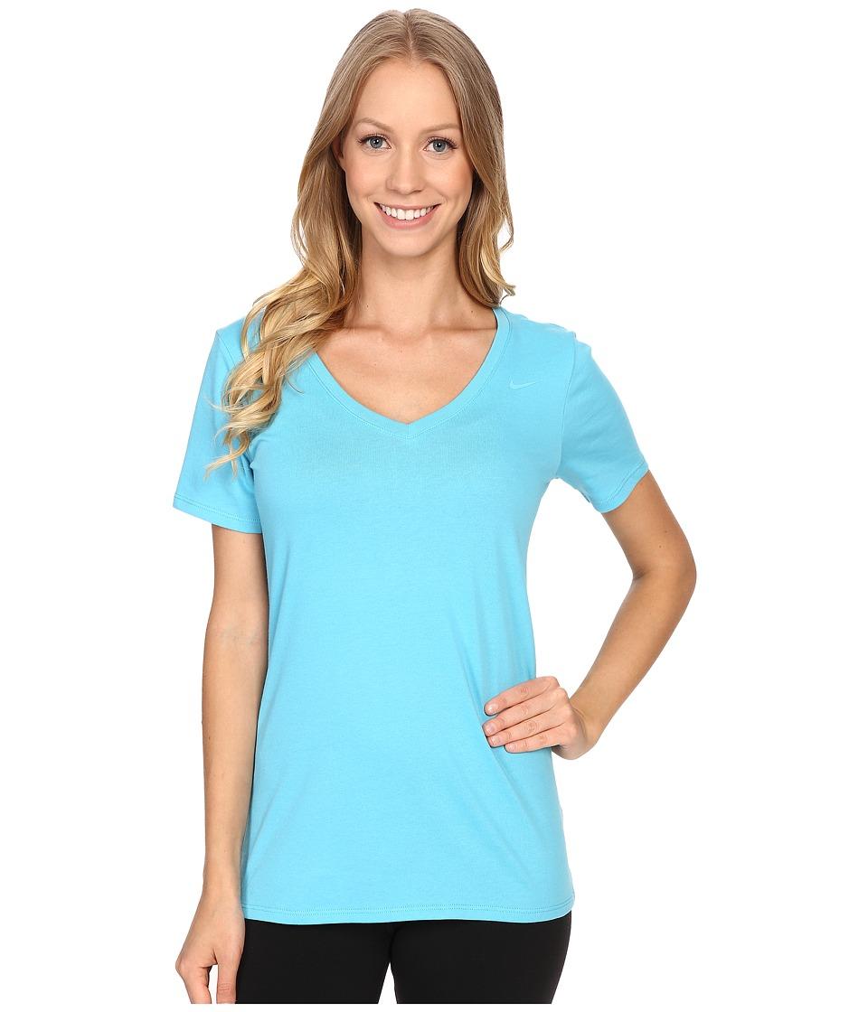 Nike - Dri-FIT Cotton V-Neck Short Sleeve Tee (Omega Blue/Omega Blue) Women