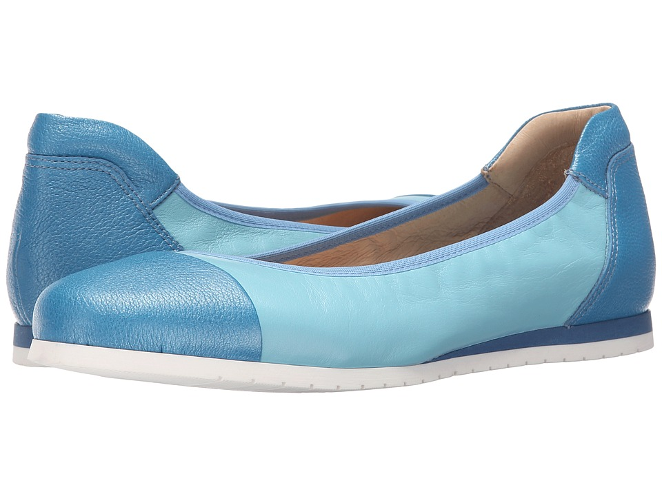 French Sole Oblige Cool Blue Nappa Womens Flat Shoes