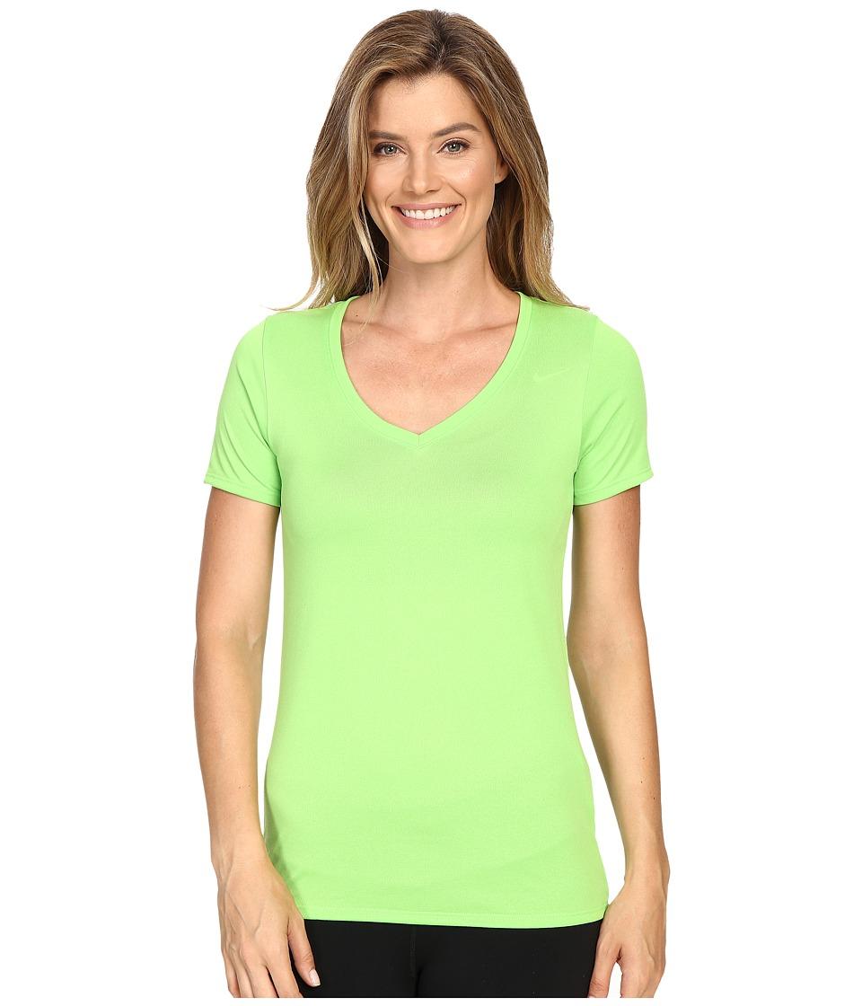 Nike - Legend 2.0 V-Neck Training Tee (Action Green/Action Green) Women