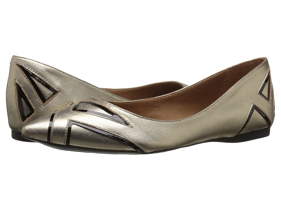 French Sole Quiver Platino/Black Metallic Patent Womens Flat Shoes
