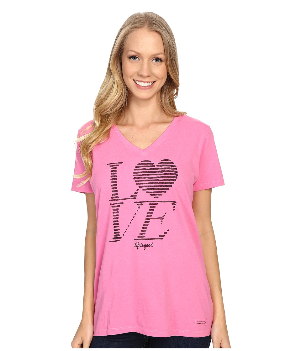 Life is good Love Stripe Crusher Vee Tropical Pink Womens T Shirt