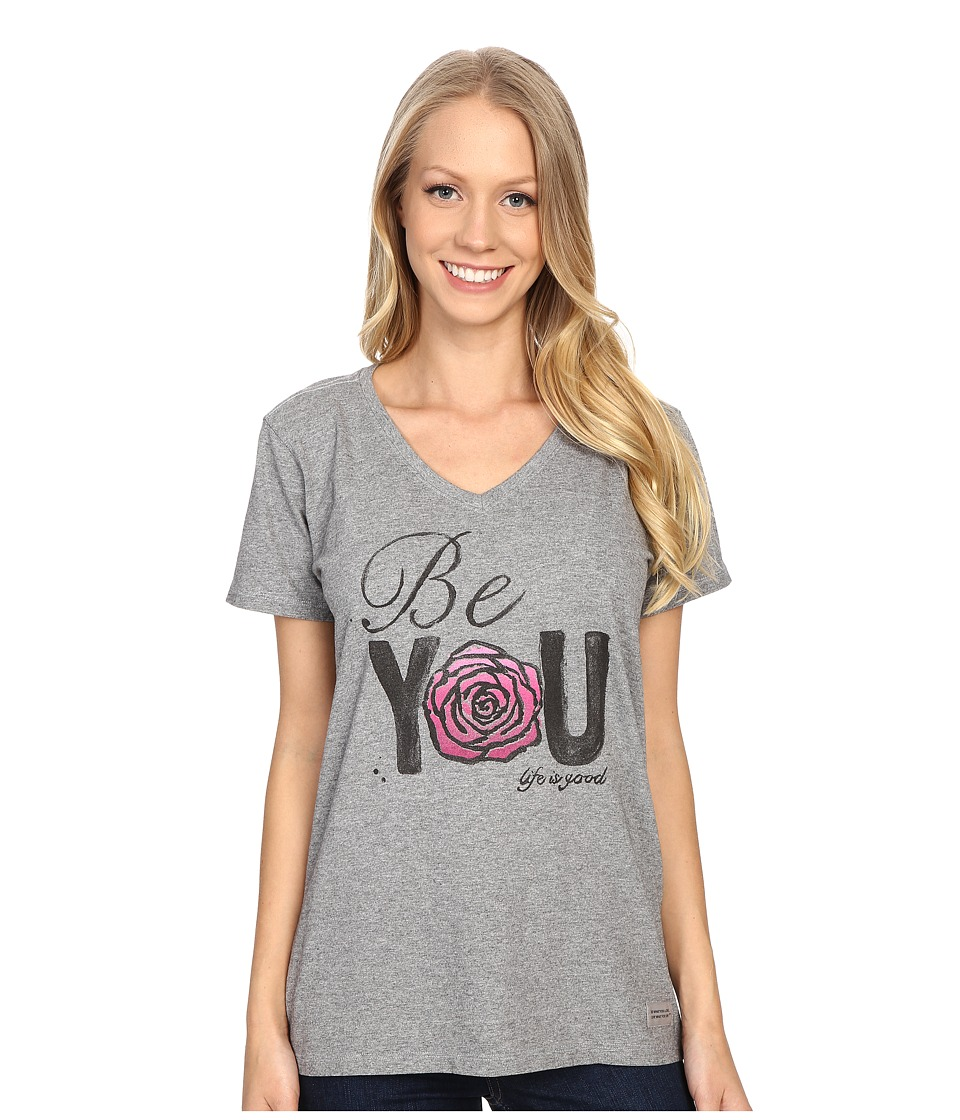 Life is good Be You Rose Crusher Vee Heather Gray Womens T Shirt