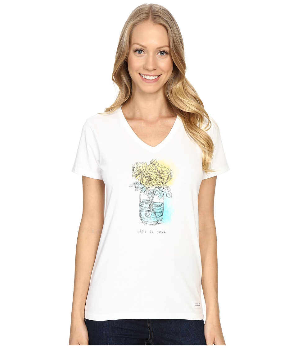 Life is good Mason Jar Crusher Vee Cloud White Womens T Shirt