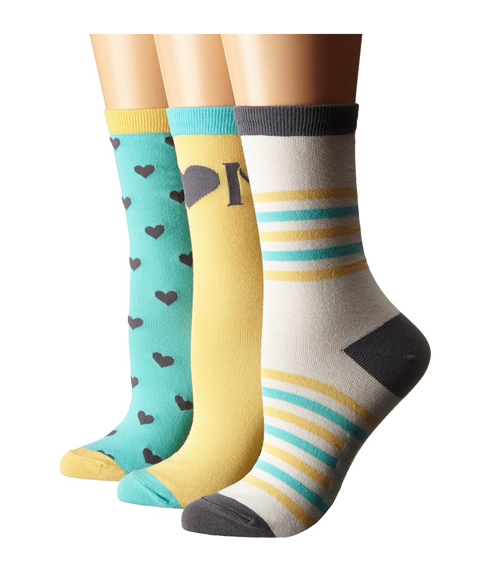 Life is good Mothers Day Crew Socks 3 Pack Sunny Yellow/Cloud White/Cool Aqua Womens Crew Cut Socks Shoes