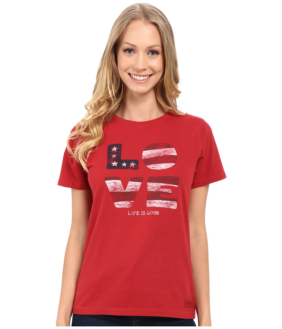 Life is good Love Flag Crusher Tee Flag Red Womens T Shirt