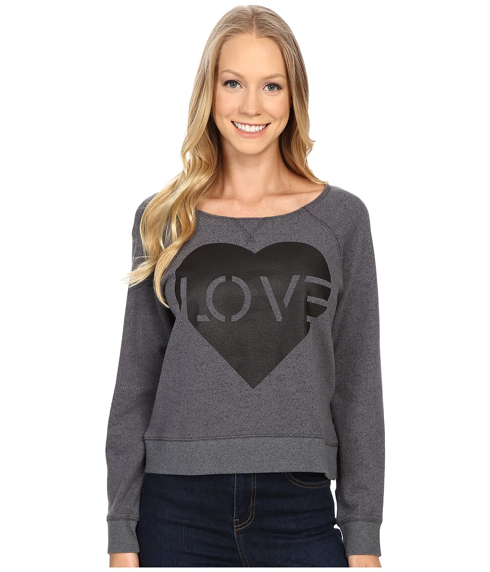 Life is good Love Stencil Marled Terry Crew Pullover Heather Gray Womens Long Sleeve Pullover
