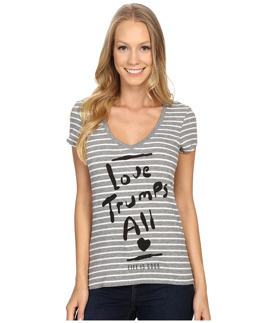 Life is good Love Trumps All Newbury Vee Heather Gray Womens T Shirt