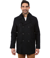 Calvin Klein - Wool Pea Coat with Bib & Chest Zip Detail