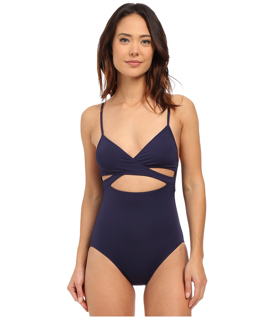Vince Camuto Cruise Halter Maillot w/ Removable Soft Cups Navy Womens Swimsuits One Piece