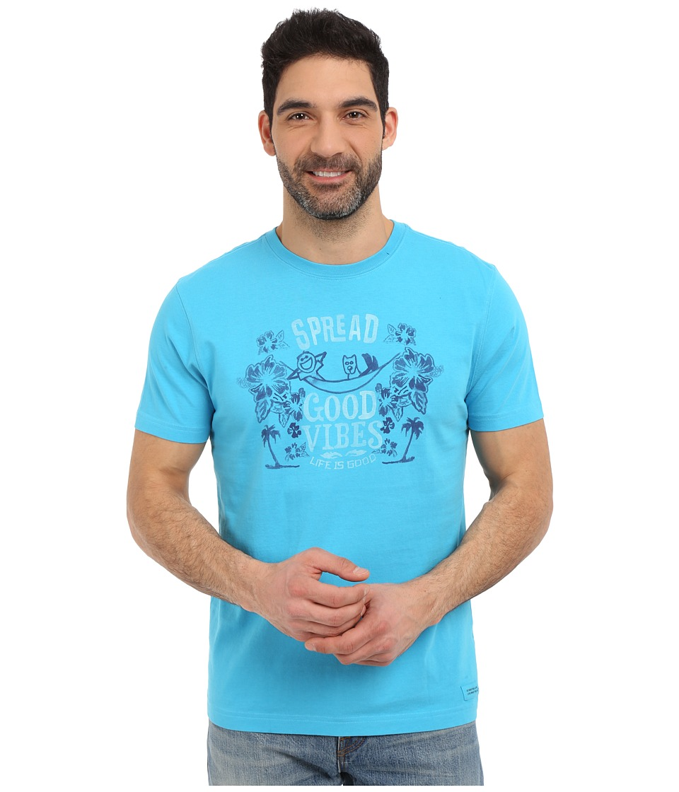 Life is good - Spread Good Vibes Crusher Tee (Bright Blue) Men