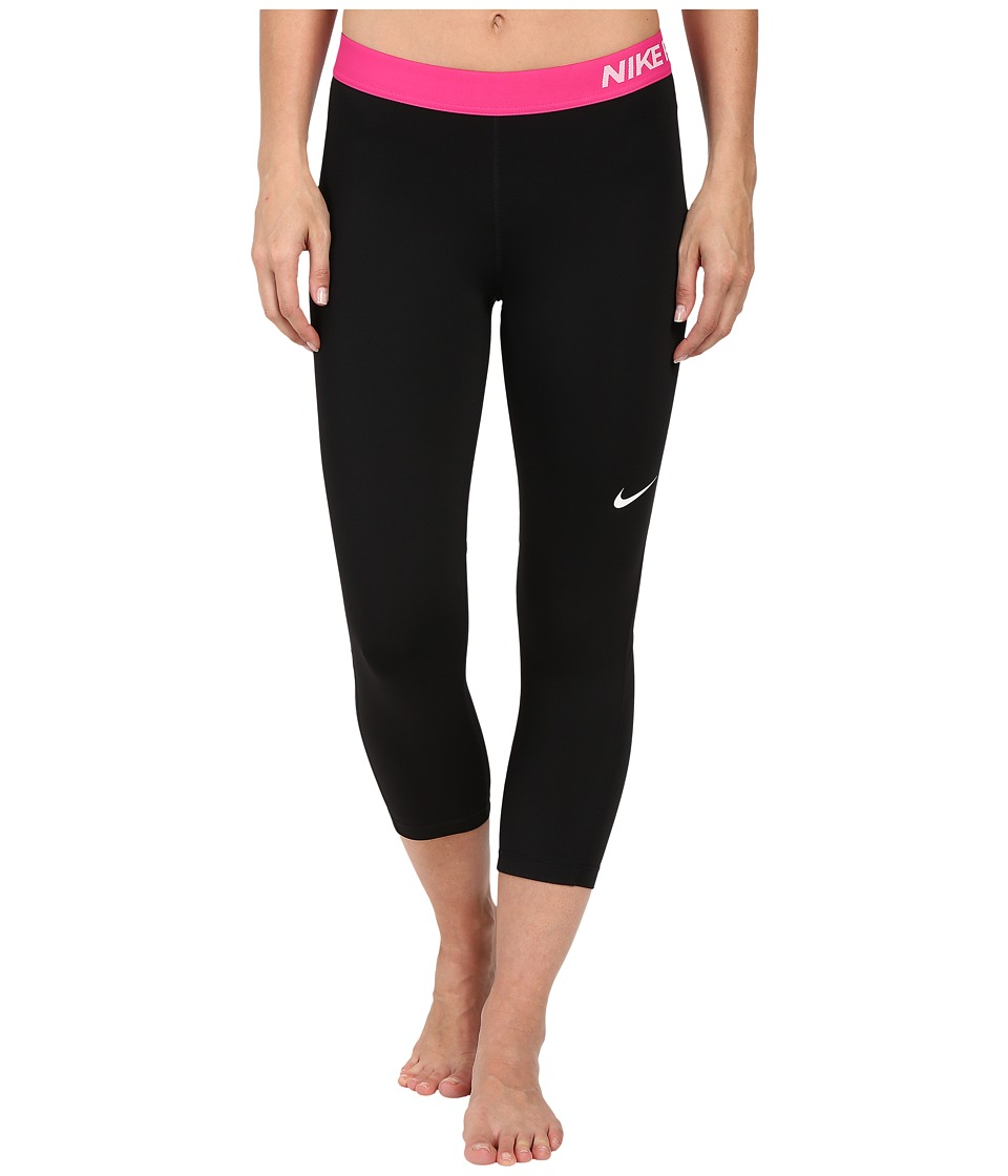 Nike Pro Cool Capris (Black/Vivid Pink/White) Women