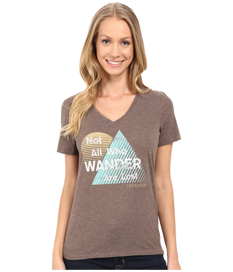 Life is good All Who Wander Triangle Stripe Cool Vee Shale Brown Womens T Shirt