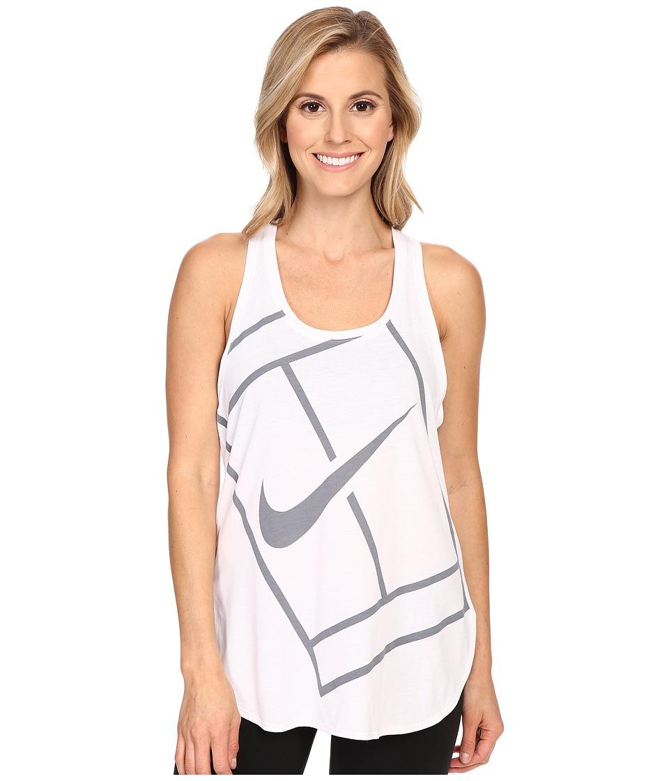 Nike Court Baseline Tennis Tank Top White/White Womens Sleeveless