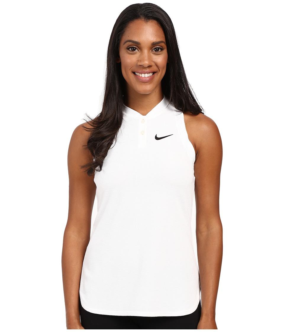 Nike Court Premier Slam Tennis Tank Top White/Black Womens Sleeveless