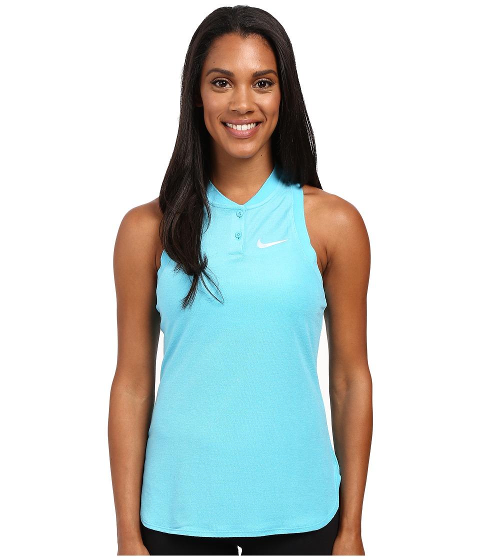 Nike Court Premier Slam Tennis Tank Top Omega Blue/White Womens Sleeveless