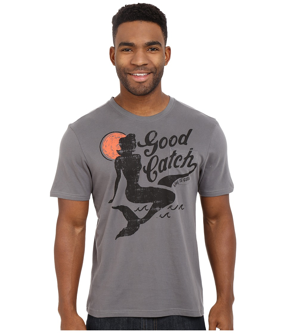 Life is good Good Catch Pocket Sleep Tee Slate Gray Mens Pajama