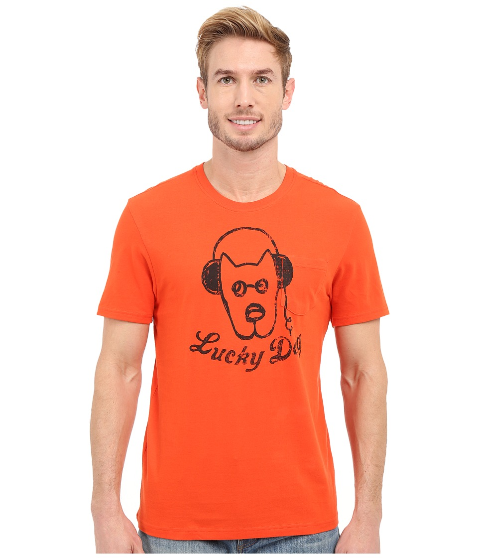 Life is good Lucky Dog Headphones Pocket Sleep Tee Flame Orange Mens Pajama