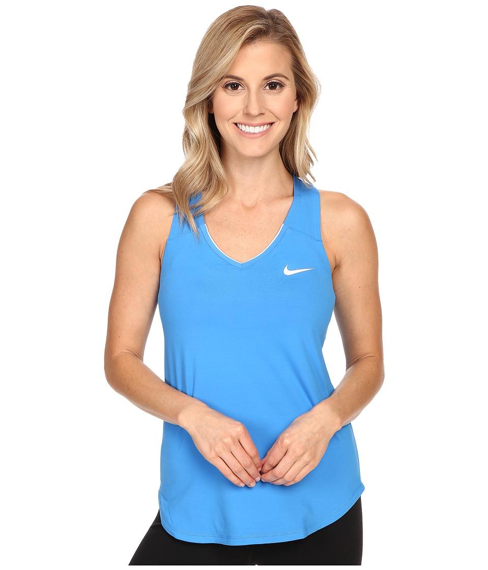 Nike Court Team Pure Tennis Tank Top Light Photo Blue/White Womens Sleeveless