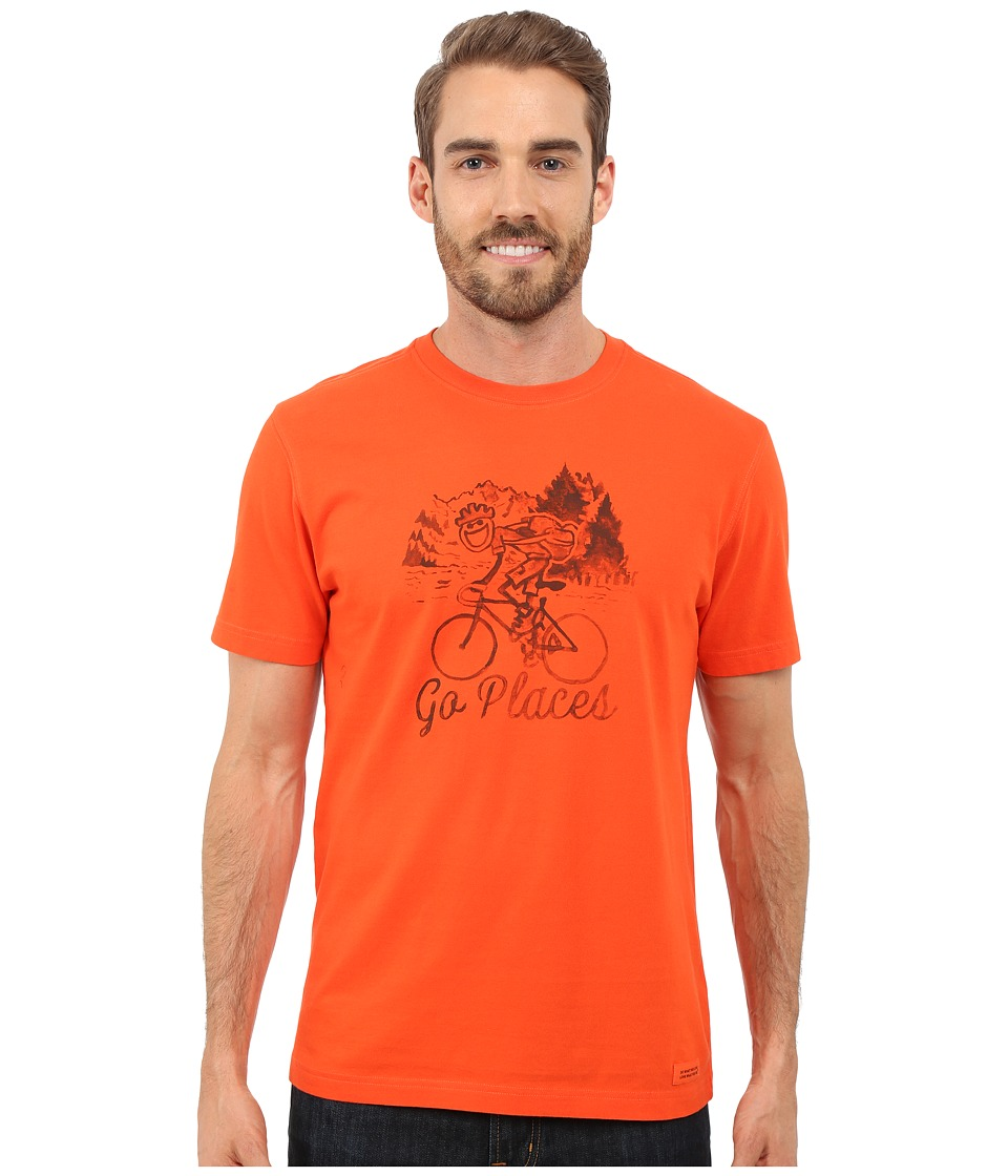 Life is good Go Places Bicycle Crusher Tee Flame Orange Mens T Shirt