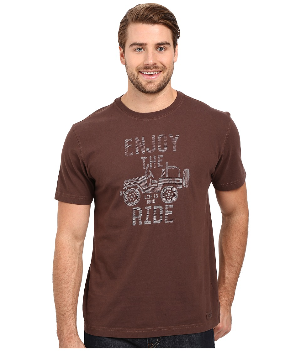 Life is good Enjoy the Ride Jeep Crusher Tee Deep Brown Mens T Shirt