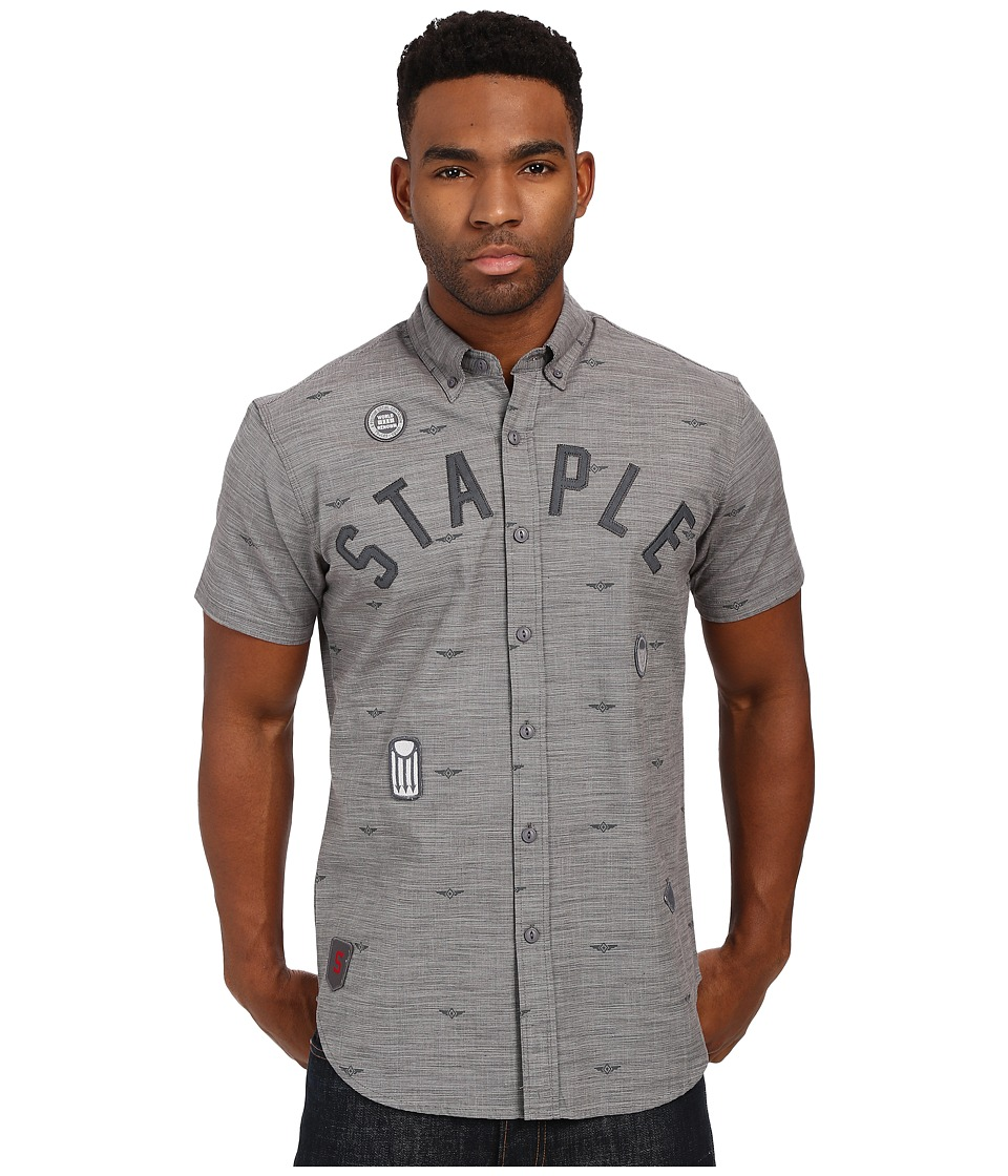 Staple Debris Patch Woven Grey Mens Clothing